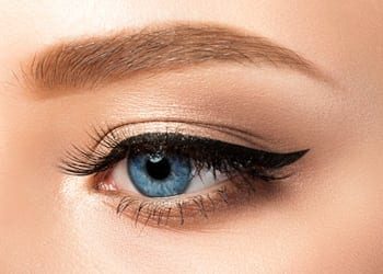 Closeup of a woman's eye with eye makeup