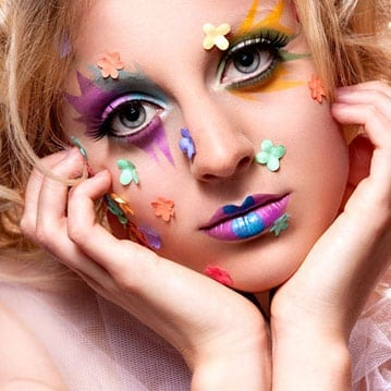 Creative makeup with flowers