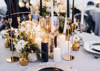 Modern-themed table setting at a wedding reception