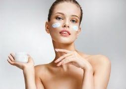 Cream on ladies face