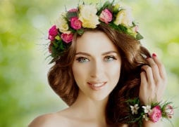 wedding soft curled hair with flower head piece