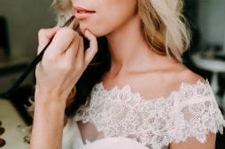 Lipstick applied to bride