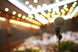 Microphone at wedding venue